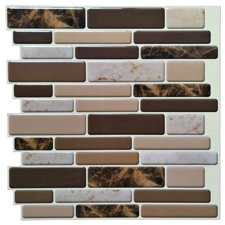 10-Tiles Self Adhesive Wall Tile Peel and Stick Backsplash Tile for Kitchen, Marble Design 12