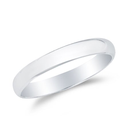 14k White Gold Solid 2mm CLASSIC FIT Plain Traditional Wedding Band Ring , Size -
