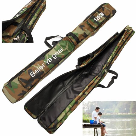 3 Layer Fishing Rod Carrier Canvas Fishing Pole Tools Storage Bag Large Capacity Fishing Tackle Bag