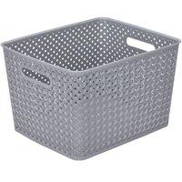 Simplify Large Resin Wicker Storage Tote Basket Weave
