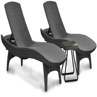 Keter Pacific Chaise Sun Lounger and Side Table Set, Charcoal