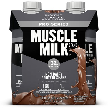 Muscle Milk Pro Series Non-Dairy Protein Shake, Knockout Chocolate, 32g Protein, Ready to Drink, 11 fl. oz.,