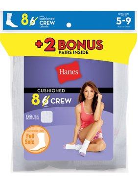 Women's Crew Socks, White, Size 10-12, 10-Pack