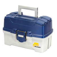 Plano Fishing Two Tray Tackle Box, Dual Top Access, Blue Metallic/Off White