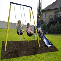 Sportspower Power Play Time Metal Swing Set with 5ft Heavy Duty Slide and Two Swings