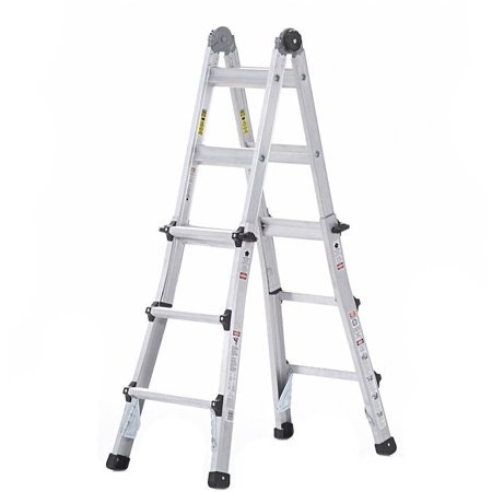 Ladder Fiber - Cosco 14 ft. Aluminum 5-in-1 Multi-Position Ladder with 300 lb. Load Capacity Type IA Duty Rating