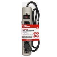 Hyper Tough 6 Outlet 3ft Metal Surge Gray