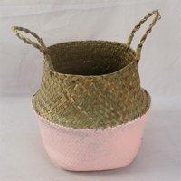 Asewin Plant Basket,Foldable Rattan Straw Basket Flower Pot Hanging Wicker Storage Basket Garden Accessories
