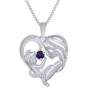 19656d3aa Round Cut Simulated Alexandrite & White Cubic Zirconia Mom With Child Heart  Pendant Necklace In 14k