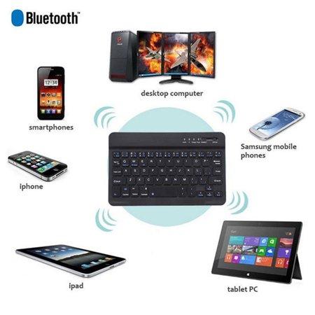 Ultra-Slim Bluetooth Keyboard for Apple iOS iPad Pro, mini 4, iPhone X/8/7Plus/6, Android Tablets (Galaxy Tab), Windows Mac