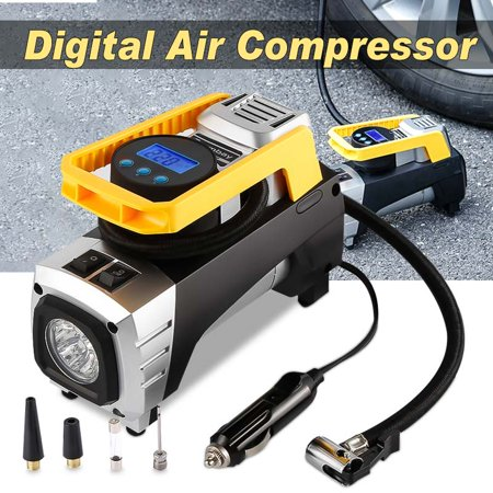 Audew Double Cylinder Car Air Pump Portable Air Compressor Pump Tire Inflator Pump + Gauge 12V 150 PSI Tire Pump for Car, Truck, Bicycle, and Other Inflatables