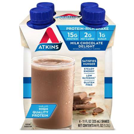 Atkins Milk Chocolate Delight Shake, 11 fl oz, 4-pack (Ready To Drink)