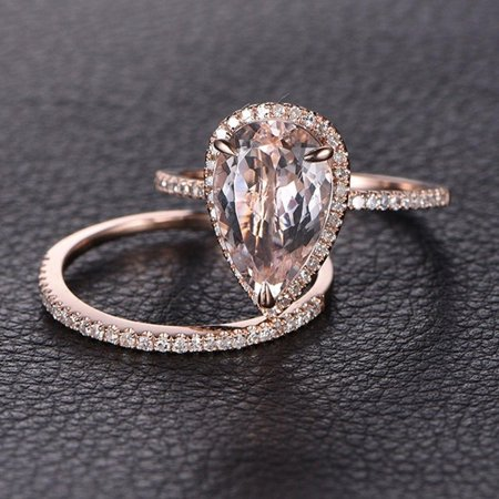 Art Deco 1.5 Carat Pear cut Real Morganite and Diamond Bridal Wedding Ring Set with Engagement Ring and Wedding Band in 18k Gold Over Silver Art Deco Wedding Sets