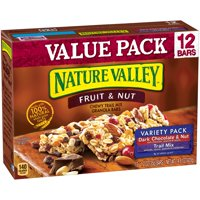 (2 pack) Nature Valley Chewy Granola Bar Trail Mix Variety Pack of Dark Chocolate & Nut and Fruit & Nut 12 - 1.2 oz Bars