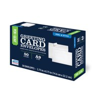 Pen+Gear A9 Greeting Card Envelopes with Peel & Stick Closure, White, (8-3/4 x 5-3/4) 50/CT, (61784)