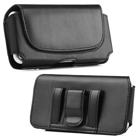 Insten Black Horizontal Flip Leather Case Pouch with Belt Clip & Magnetic closure for Apple iPhone X 8 7 6s Samsung Galaxy S7 S6 Edge J5 J3 Grand Prime Alpha HTC Desire 626 601 530 510 One A9 M9 M8 M7 ()