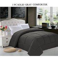 All Seasons Down Alternative Comforter Solid Color Box Stitch Full/Queen , Gray