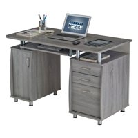 Techni Mobili Complete Workstation Computer Desk with Storage Drawers, Grey