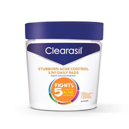 Clearasil Stubborn Acne Control 5in1 Daily Cleansing Face Wipes, 90ct