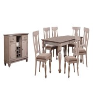 Joanna 8 Piece Dining Set, Brown Wood & Fabric, Transitional, (Extendable Table, 6 Fiddleback Chairs & Buffer Server)