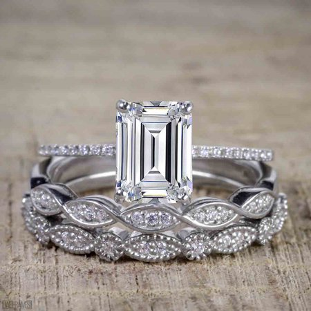Bestselling 1.50 Carat emerald cut Moissanite and Diamond Trio Wedding Ring Set in White Gold (Diamond Ring Set In White Gold)