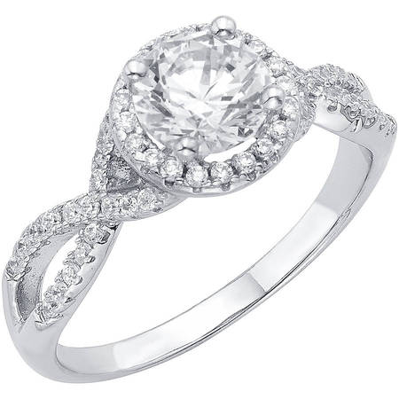1/2 Carat T.G.W. Australian Crystal and CZ Sterling Silver Engagement Ring (Cz Rings For Women Engagement)