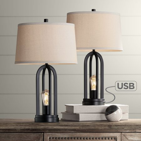 360 Lighting Modern Industrial Table Lamps Set Of 2 With Nightlight