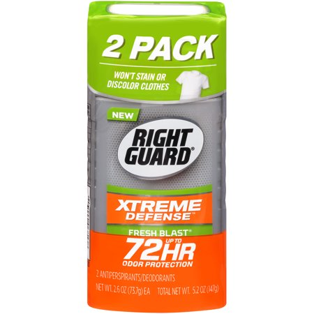 Right Guard Xtreme Defense Antiperspirant Deodorant Invisible Solid Stick, Fresh Blast, 2.6 Ounce Twin Pack (Pack of