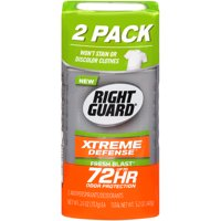 Right Guard Xtreme Defense 5 Antiperspirant Deodorant Invisible Solid Stick, Fresh Blast, 2.6 Ounce (Pack of 2)