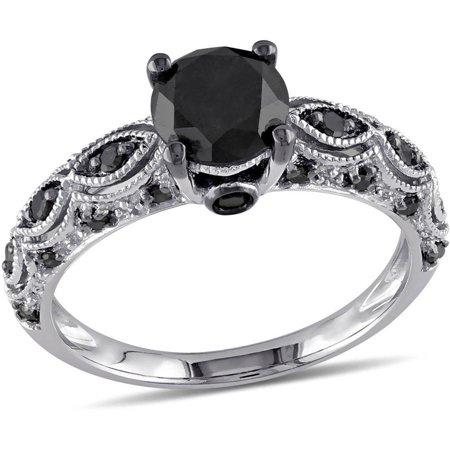 1-1/4 Carat T.W. Black Diamond 10kt White Gold Engagement Ring (Black Diamond Ring Engagement)