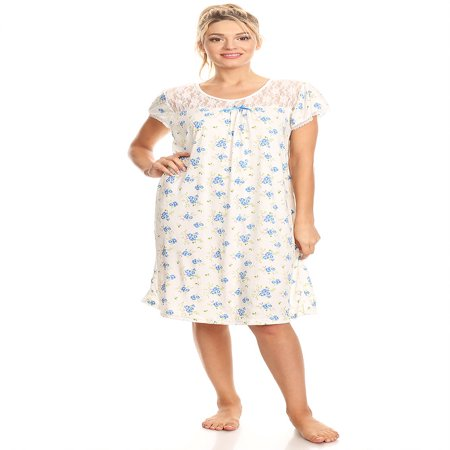 806 Women Pajamas Night Gown Sleepwear Night Shirt Blue M