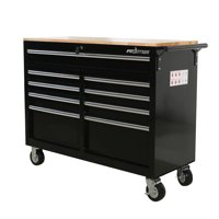Frontier RECONDITIONED 46 in. 9-Drawer Mobile Workbench, tool chest, tool cabinet with wooden work surface in black