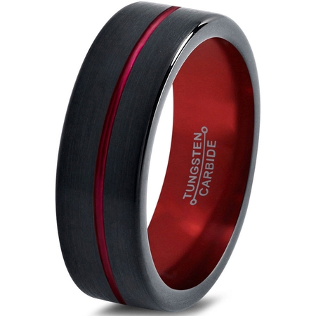 Tungsten Wedding Band Ring 4mm for Men Women Black Red Center Line Flat Pipe Cut Brushed Polished Lifetime Guarantee](Red Wedding Ring)