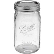Ball Glass Mason Jar with Lid and Band, Wide Mouth, 32 Ounce, 12 Count