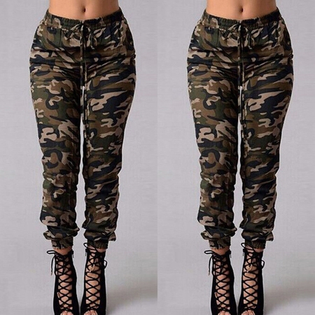 Women Camouflage Pants Camo Casual Cargo Joggers Military Army Harem Pants Trousers S