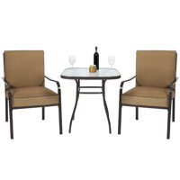 Best Choice Products 3-Piece Outdoor Bistro Set with Glass Table Top and Cushions