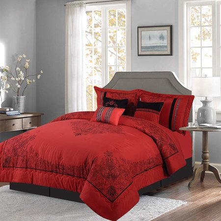 Empire Home Dawn 7 Piece Comforter Set Over Sized Bed In A Bag Queen Size Red & Black NEW ARRIVAL 50% SALE