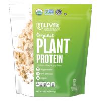 LIVfit Superfood Organic Vegan Plant Protein Powder, 15g Protein, 12.7 Oz