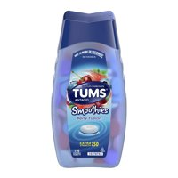 (2 Pack) Tums smoothies berry fusion extra strength antacid chewable tablets for heartburn relief, 140 tablet