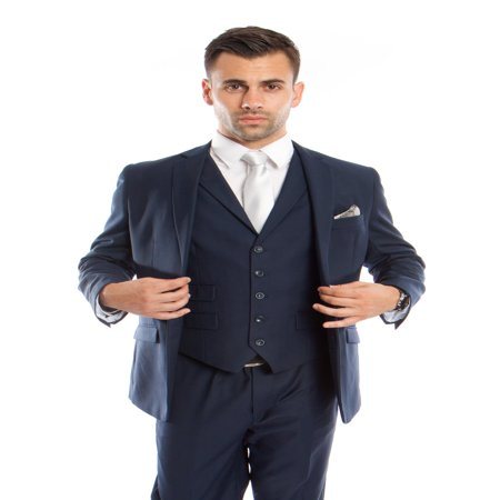 3 Piece Handmade Vest (Mens Suit Three Piece Slim Fit Solid Collar Vest Suits )