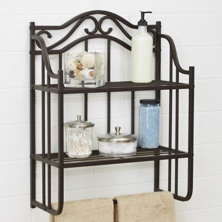 Chapter Bathroom Storage Wall Shelf, Oil-Rubbed Bronze Finish
