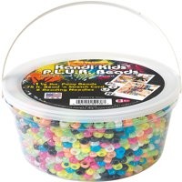 The Beadery Kandy Kids P.L.U.R Bead bucket, 1.5 lbs. of glow in the dard beads, 75 ft. stretch cord & 2 beading needles