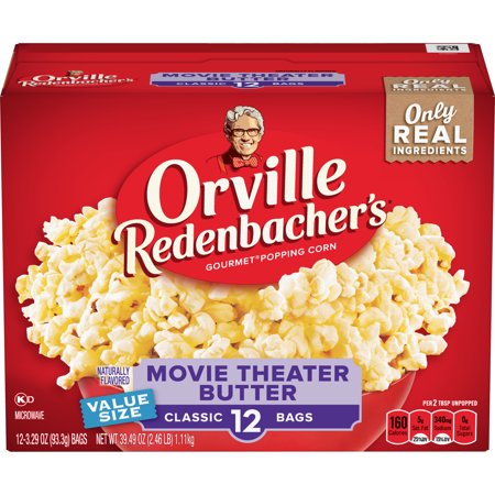 Orville Redenbacher's Movie Theater Butter Microwave Popcorn, 3.29 Ounce Classic Bag, (Light Butter Microwave Popcorn)