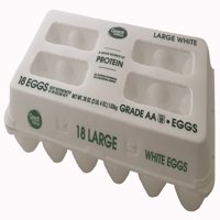 Great Value Large White Grade AA Eggs, 18 Count