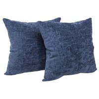 "Mainstays Chenille Decorative Throw Pillow, 18"" x 18"", Navy, Two Pack"