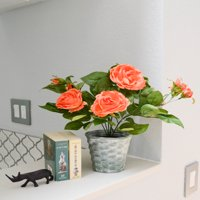 """Admired By Nature 13"""" Tall Artificial Tabletop Potted Rose Plant Decoration, Orchid"""