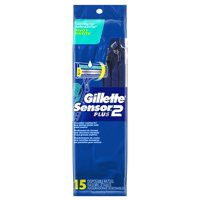 Gillette Sensor2 Plus Pivoting Head Men's Disposable Razors, 15 Count