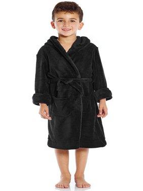 Leveret Kids Fleece Sleep Hooded Robe Black Size 12 Years