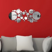 28Pcs/set 3D Modern Mirror Wall Stickers Silver Acrylic DIY Mural Decal Home Living Room