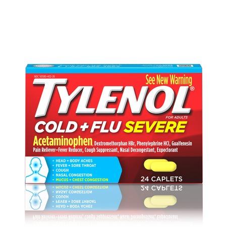 Tylenol Cold + Flu Severe Caplets for Multi-Symptom Relief, 24